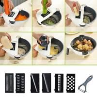 Multischneider GemüseSchneider 6 tlg Set mit Abtropfkorb Küchenreibe Gemüsehobel