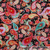 BonEful Fabric FQ Cotton Quilt VTG Black Red Green Aqua Blue Paisley Flower Girl