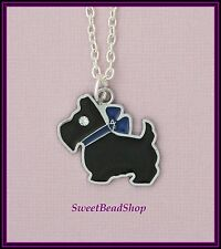 Silver Plated Necklace with Black Enamel Scottie Dog Rhinestone Eye Charm