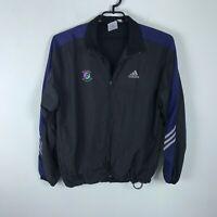 Adidas Windbreaker Jacket Size L Black Bolder Boulder Zip Front Vented Mens