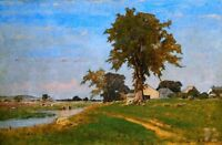Oil painting George Inness Old Elm At Med field landscape & village by stream @@