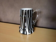 Glazen decoratief zwart wit bierglas  15 x 10 cm