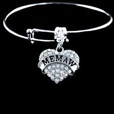 Memaw Bracelet Memaw jewelry Memaw gift Big Crystal Heart Charm