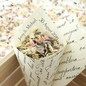 Personalised Handcrafted Vintage French Wedding Confetti Cones 100% Recycled