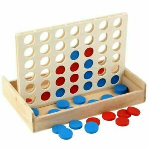 Four in a Line Traditional Wooden Edu Board Game Classic 4 in a Row Connect Four