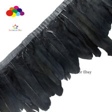 Dyed black Goose Feathers 2 Meter Fringe Trim with Satin Ribbon Tape 6-8 inch