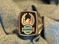 Silver  Eagle w/ Turquoise Shield Men's Ring -* Biker* harley*motorcycle