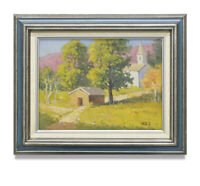 NY Art - 12x16 Impressionist Sunny Countryside Home & Church Painting with Frame