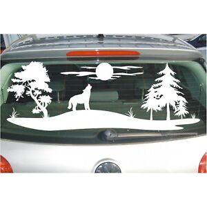 Aufkleber Landschaft  Wolf heult Mond an Feld Wiese Bäume Baum Sticker Folie