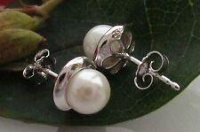 Perlen Ohrstecker 925 Sterling Silber 6mm Muschelkernperlen Damen Ohrringe Weiß