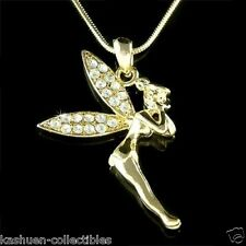 Gold PL TINKER PIXIE w Swarovski Crystal fairy ~Tinkerbell~ ANGEL Fairy Necklace
