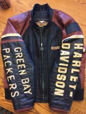 RARE OOAK CUSTOM! HARLEY-DAVIDSON GREEN BAY PACKERS Cruiser Leather JACKET Sz L