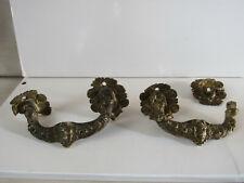 2 poignées anciennes en bronze pour commode meuble - motif visage