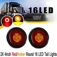 2X 4Inch Round 16 LED DC 12V Truck Trailer Tail Brake Waterproof Stop Light B2D4