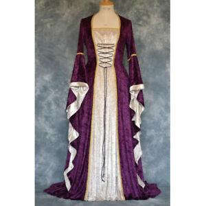 Women Medieval Cosplay Halloween Costume Palace Long Robe Ancient Princess Dress