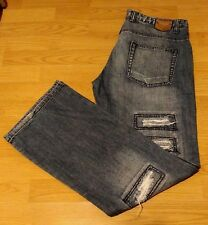 FISHBONE Jeans Mens 36W 34L Denim Destroyed Ripped Art Work Grunge Festival Cool