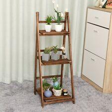 Foldable 4-Tier Ladder Bookcase Storage Rack Bookshelf Plant Stand Display Shelf