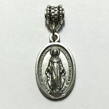 Miraculous Medal Our Lady of Grace Virgin Mary Catholic Silver Tone Pendant 3/4""