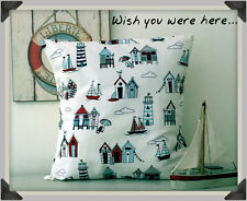 """BEACH HUTS, BOATS, LIGHT HOUSES CUSHION COVER RED AND BLUE 16 X 16"""" 100% COTTON"""