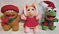 Lot 3 1987 McDonald's Plush XMAS Baby Muppet MISS PIGGY KERMIT FOZZIE / Tags