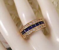 Vintage Jewellery Gold Band Ring Blue White Sapphires Antique Deco Jewelry 7