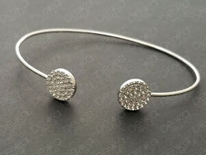 Genuine 925 Sterling Silver Open End Bangle With Micro Pave CZ Cubic Zirconia