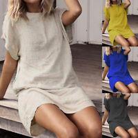 Women Summer Linen Cotton Mini Dress Summer Holiday Beach Ladies Casual Sundress