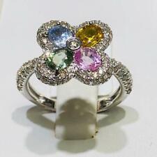 14k White Gold & Diamonds Multi Color Sapphire Flower Halo Design Ring Sz 7