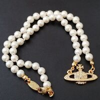 Vivienne Westwood Mini Bas Relief Pearl CHOKER Necklace - Gold