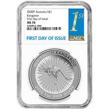 2020 $1 Silver Australian Kangaroo 1oz NGC MS70 FDI First Label