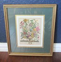 Framed Matted September Bouquet Engraving Print Floral Green Gold Frame