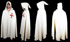 Mantello templare bianco invernale pesante con croce rossa e cappuccio