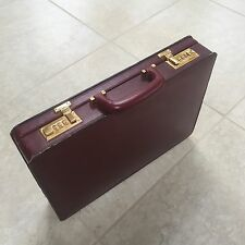 VINTAGE PRESTO HARD SHELL MAROON LEATHER BRIEFCASE WITH COMBO TABS