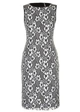 2 TONE Black white floral Lace Over layer Shift Tea Dress size 22 NEW