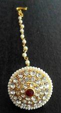Indian Bollywood Jewelry Wedding Fashion Head Jewelry Pearl CZ Maang Tikka