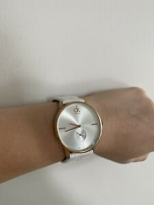 Calvin Klein Accent rose gold tone white leather watch