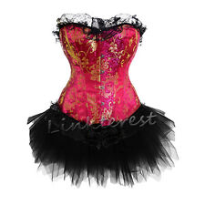 Wedding gift Burlesque Basques Corset +Tutu/Skirt Dress Costume Outfit Shaper US