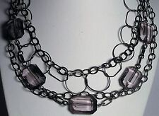 Signed V Multi Chain Faceted Purple Lucite Choker Necklace Fashion Collar Bib