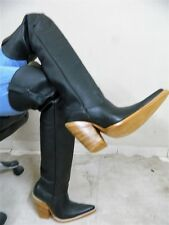 32¨tall Sharp toe cowboy boot Black  genuine leather men boots MADE TO ORDER.
