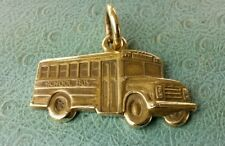 James Avery Retired School bus -charm -Pendant -bronze -uncut