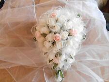 NOZZE fiori bouquet ROSE SHIMMER AVORIO ROSA IN ORGANZA a Goccia Fiore Sposa