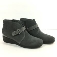 Trotters Women's 7.5 Mindy Ankle Boot Dark Grey Leather Wedge Side Zipper
