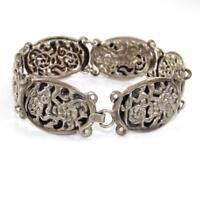 "Vintage Sterling Silver Filigree Flower Chain Link Bracelet 6.75"" SEI"
