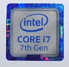 10 X Intel Core i7 7th generación Azul 18 mm x18mm Metálica Pegatinas 7 Vinilo XP 8 Windows