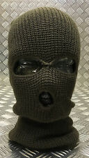 Three (3) Hole Knitted Balaclava, Very Warm - ARMY GREEN - Brand New