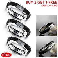 OPK Men Stainless Steel Cross Braided Leather Wristband Cuff Bangle Bracelet USA