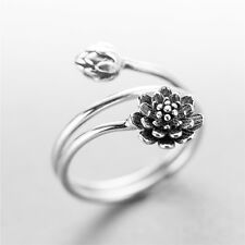 Ancient Antique 925 Sterling Silver Flowers Multi Layers Open Wrap Around Ring