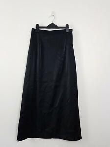 Mr K Separates AU Made Black High Waist Maxi Skirt Women's 10 Side Splits Shine
