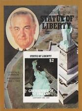 Centenario de estatua de la libertad presidente Lyndon B. Johnson IMPERF sello Sheetlet