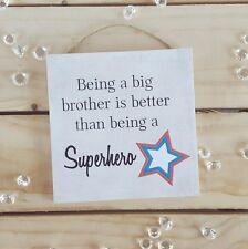 Handmade plaque sign gift present big brother superhero christmas son